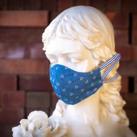 Anchors Away Nautical Chambray Blue Denim Cotton Face Mask Ribbon (1)
