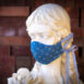 Anchors Away Nautical Chambray Blue Denim Cotton Face Mask Ribbon (2)
